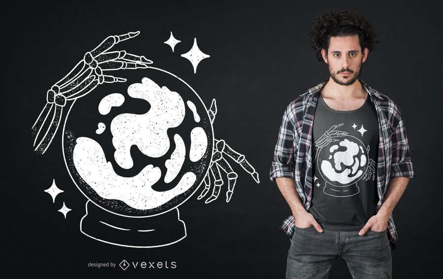 Skeleton Crystal Ball T-shirt Design