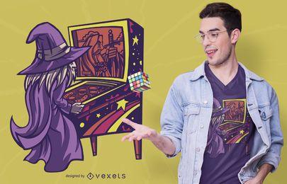 Design de camiseta para mago do pinball
