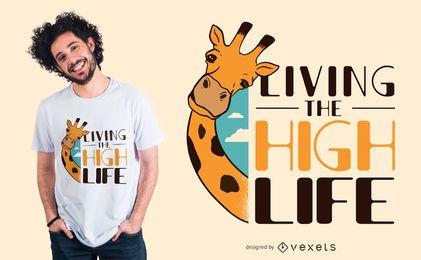 Diseño divertido de la camiseta de la cita de la jirafa