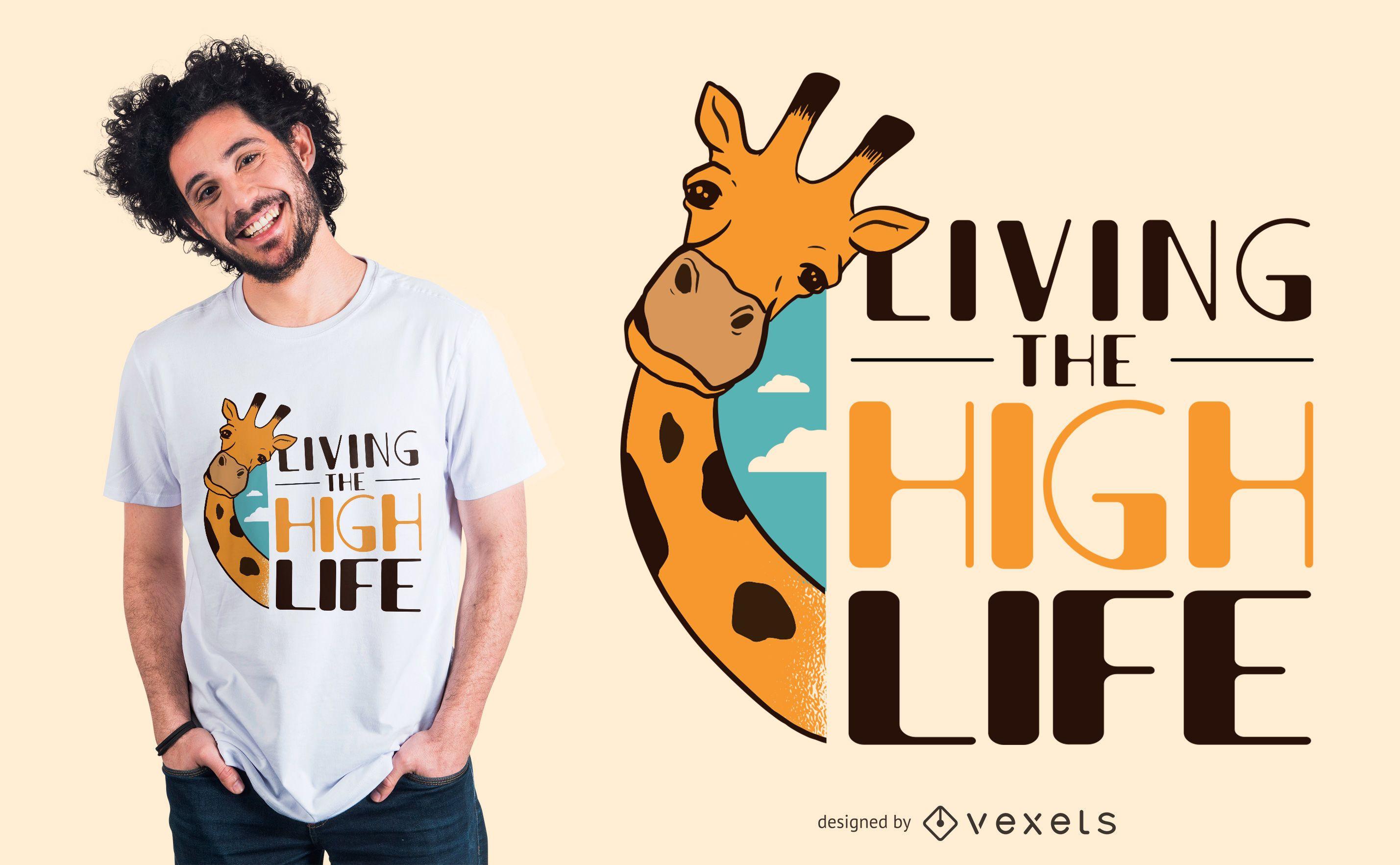 Design engraçado de t-shirt com citações do girafa