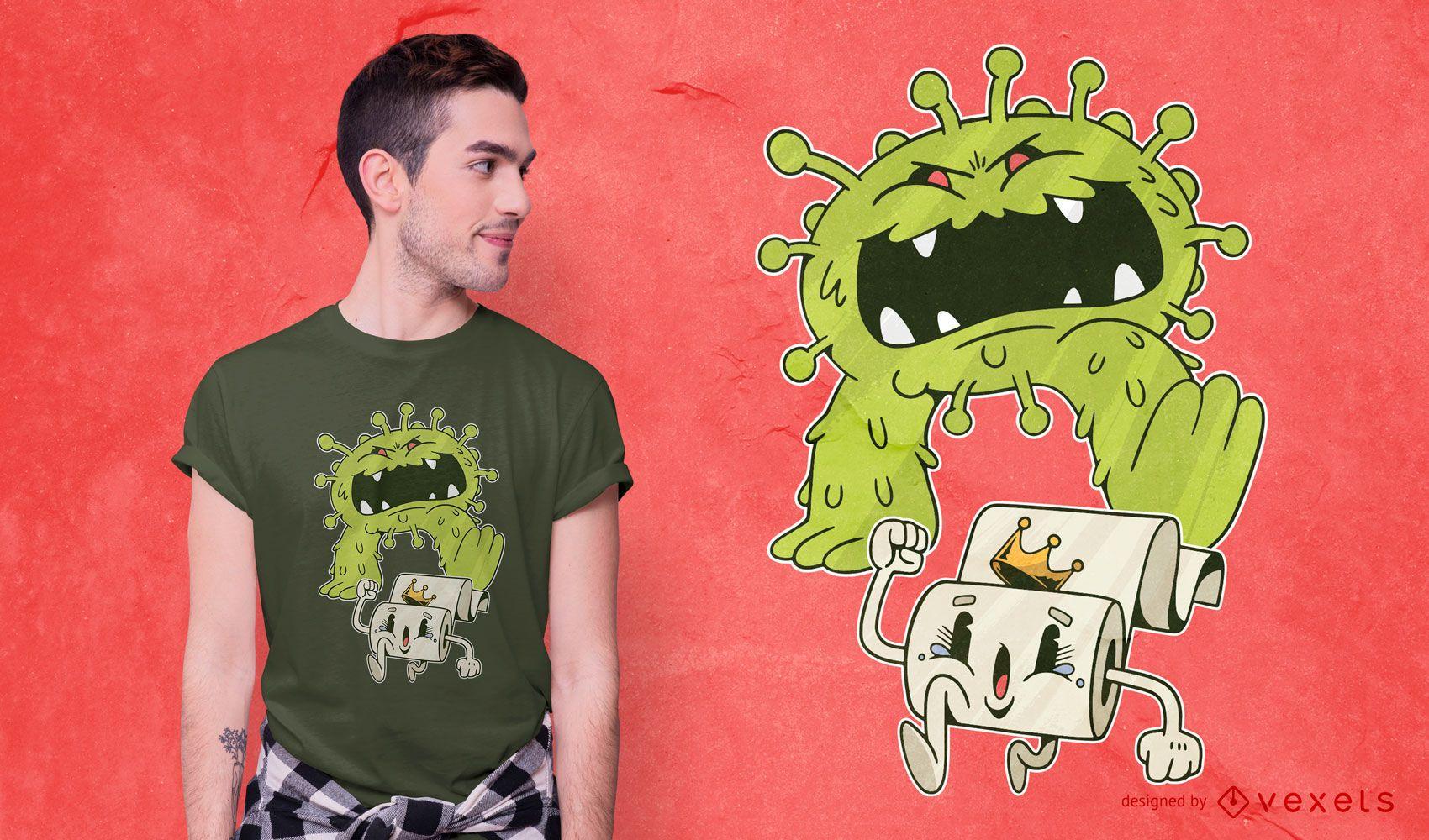 Diseño de camiseta Coronavirus Monster