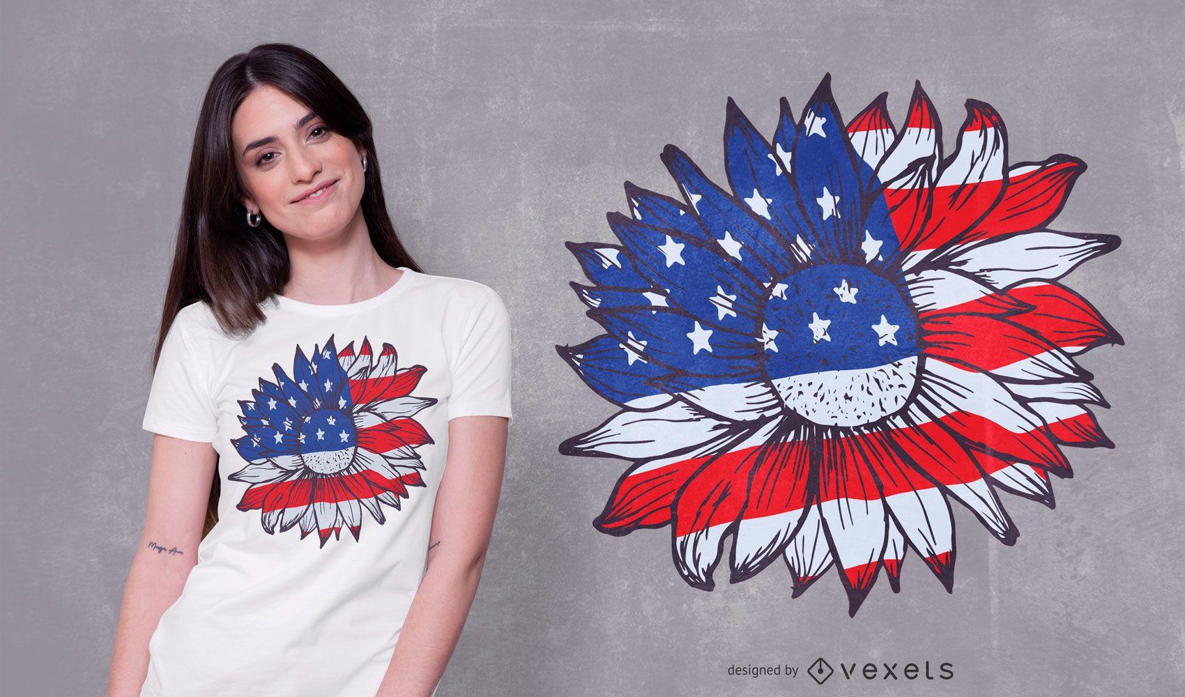 Diseño de camiseta American Sunflower
