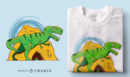 Design de t-shirt dos desenhos animados de T-rex