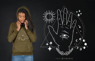 Diseño de camiseta mística de ojo de mano