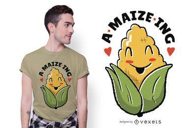 Increíble diseño de camiseta de dibujos animados de maíz