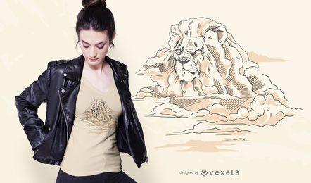 Projeto do t-shirt da montanha do leão