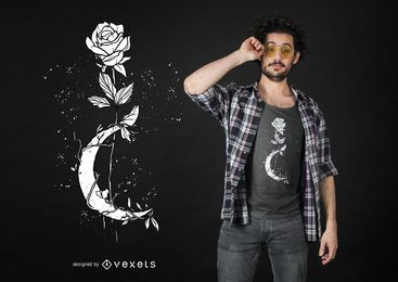 Diseño de camiseta Moon Rose