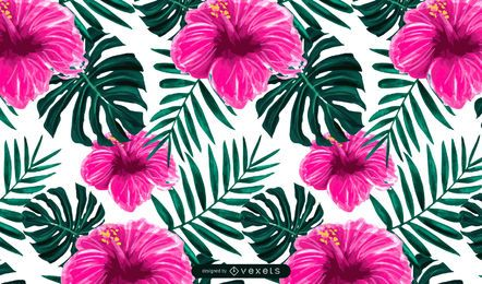 Diseño de patrón de flor de hibisco tropical
