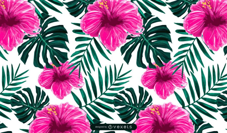 Tropical Hibiscus Flower Pattern Design