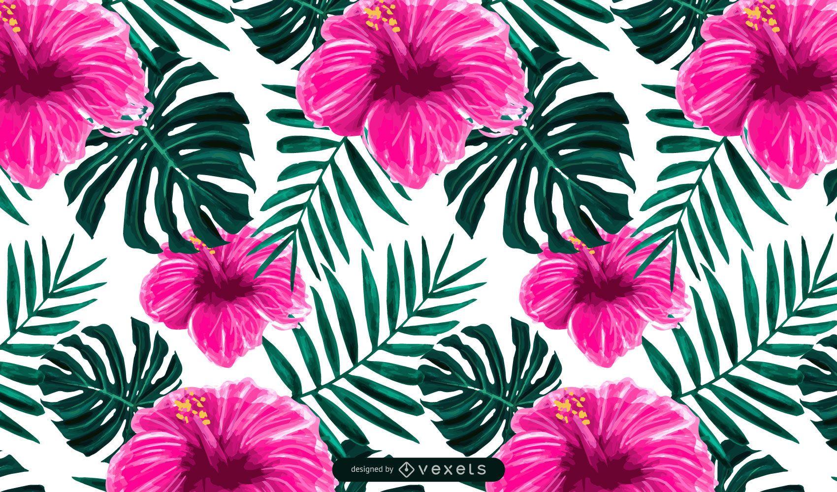 Dise?o de patr?n de flor de hibisco tropical