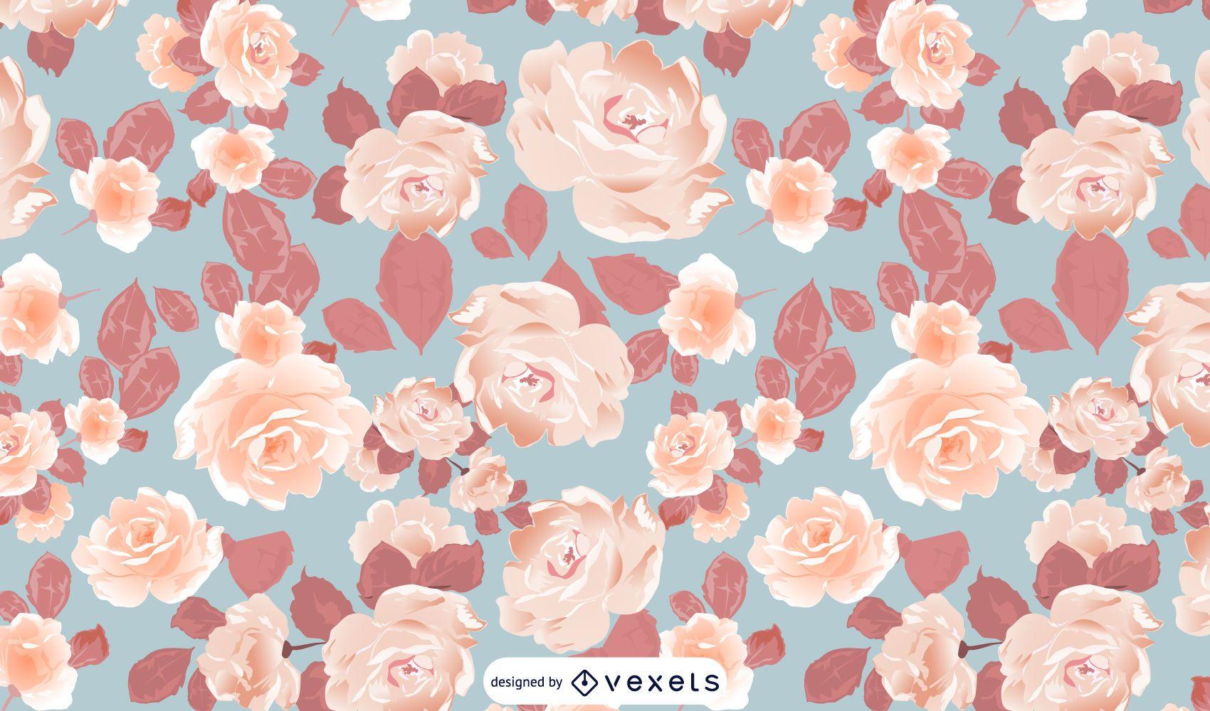 Diseño ilustrado del patrón de flores