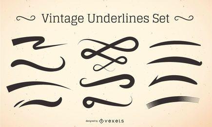 Conjunto de pincelada de sublinhado vintage