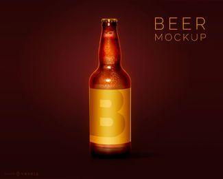 Diseño de maqueta de botella de cerveza