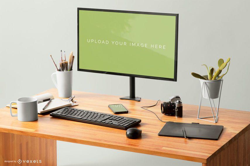 Design de maquete de tela de computador