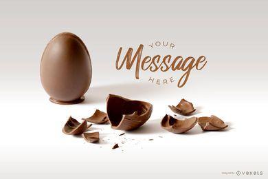 Maqueta de mensaje de huevo de Pascua agrietado