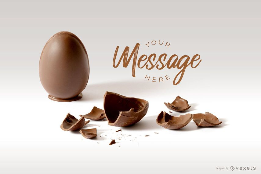Maquete de mensagem de ovo de Páscoa rachado