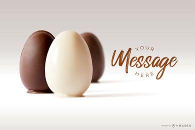 Maqueta de imagen de huevos de Pascua de chocolate