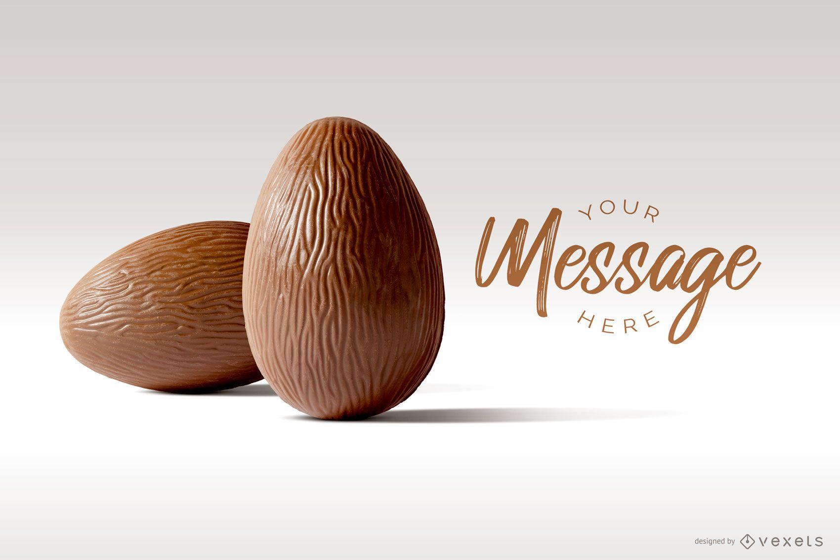 Maqueta de imagen de huevo de Pascua de chocolate