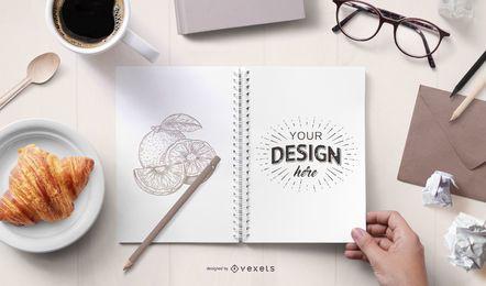 Design de maquete do bloco de notas aberto