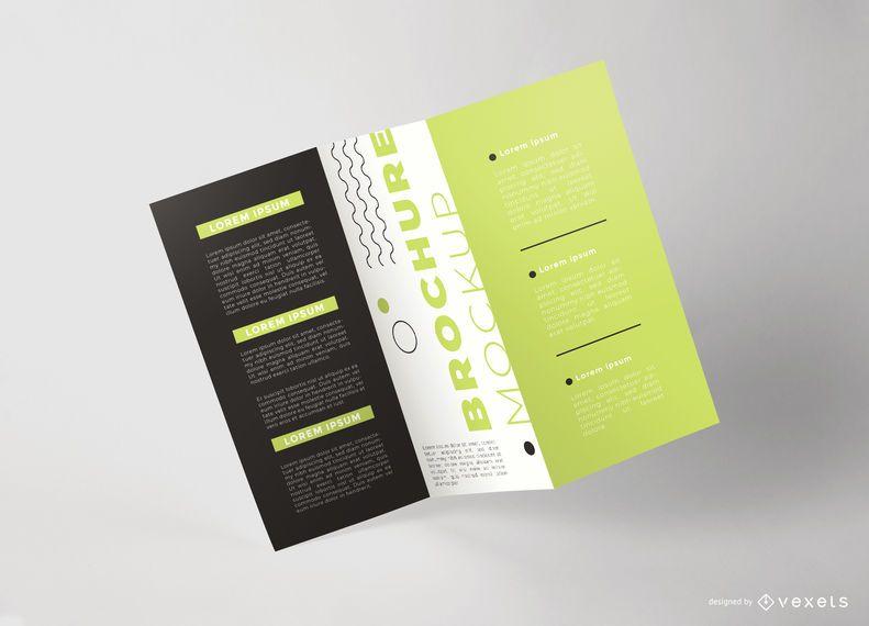 Tri-fold Floating Brochure Mockup