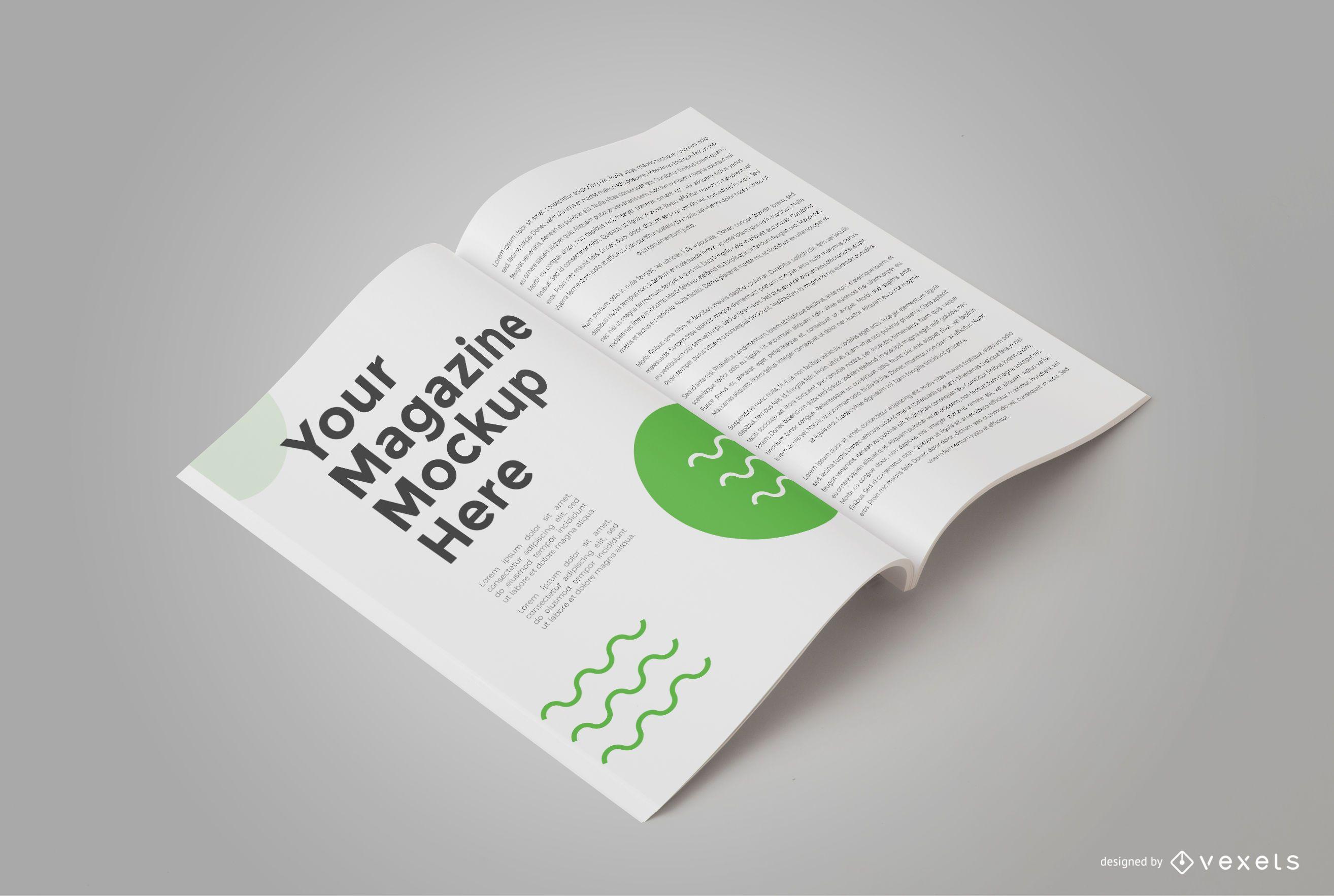 Open Magazine Isometric Mockup