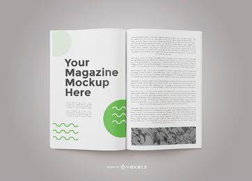 Maquete da frente da revista aberta