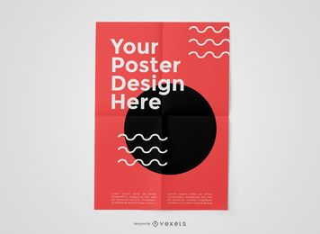 Curve Shapes Creased Poster Mockup