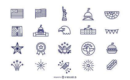 Conjunto de ícones de dia da independência de traçado simples