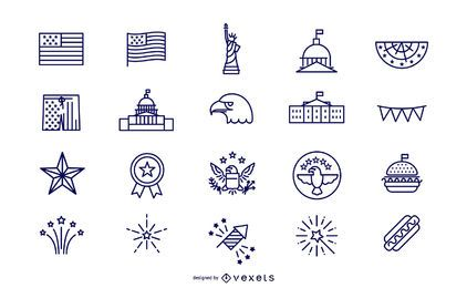 Simple Stroke Independence Day Icon Set