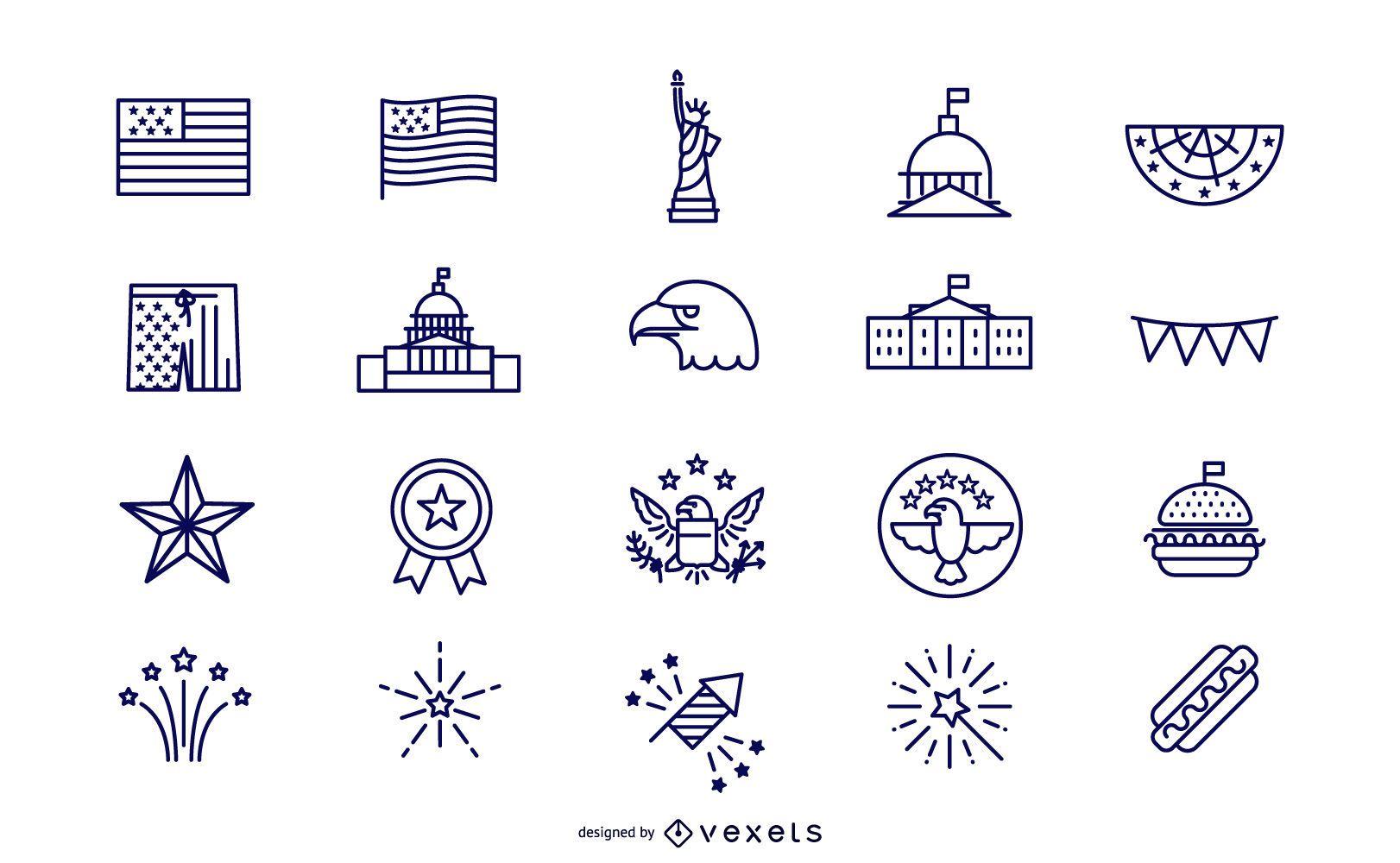 Conjunto de iconos del día de la independencia de trazo simple