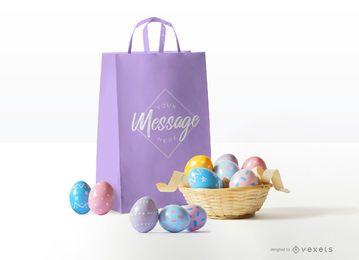 Easter bag mockup design