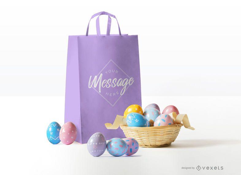 Design de maquete de saco de Páscoa