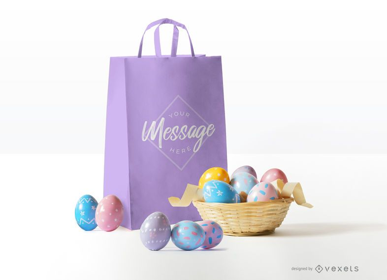 Easter bag mockup design