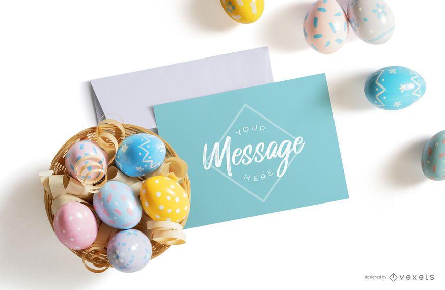 Easter eggs letter mockup composition