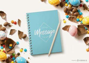 Design de maquete de caderno de Páscoa