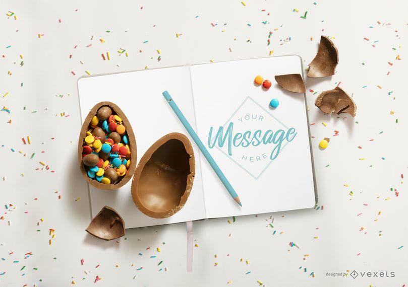 Easter open notebook mockup design