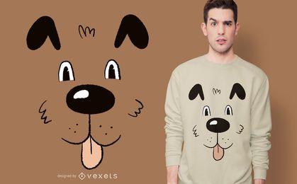 Diseño de camiseta de cara de perro