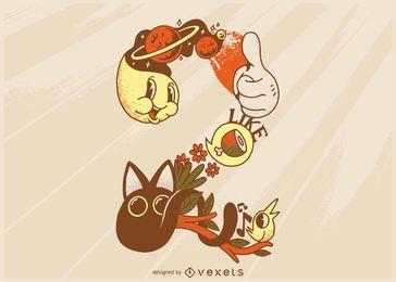 Número 2 ilustração dos desenhos animados