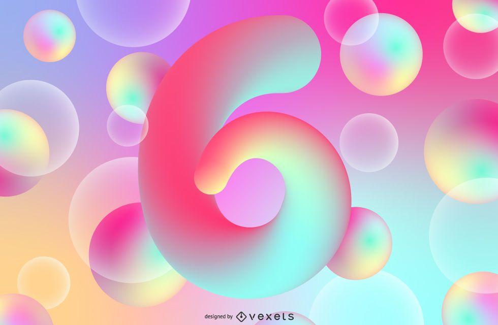 Number 6 gradient illustration design