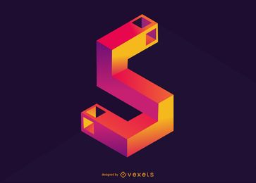Number 5 isometric illustration design