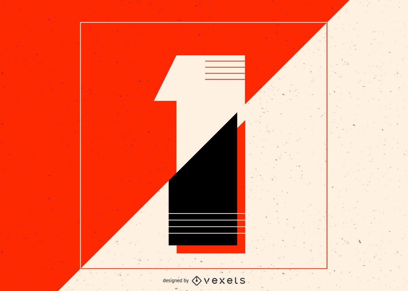 Number 1 minimal illustration design