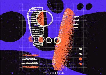 Desenho de ilustração abstrata do número 4
