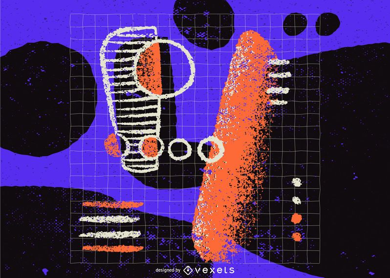 Number 4 abstract illustration design