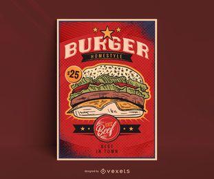 Plantilla de póster de hamburguesa vintage