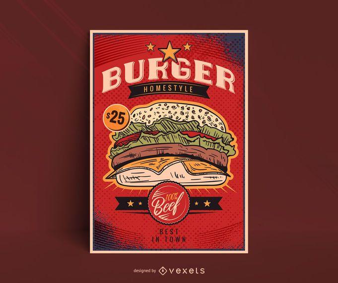 Modelo de cartaz de hambúrguer vintage