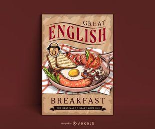 Plantilla de cartel vintage de desayuno inglés