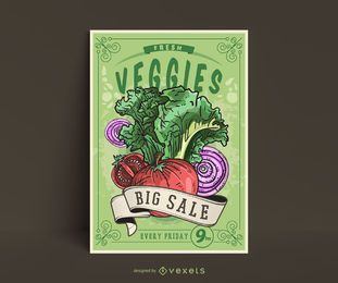 Modelo de cartaz - legumes vintage