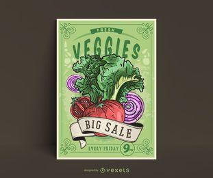 Plantilla de póster de verduras vintage