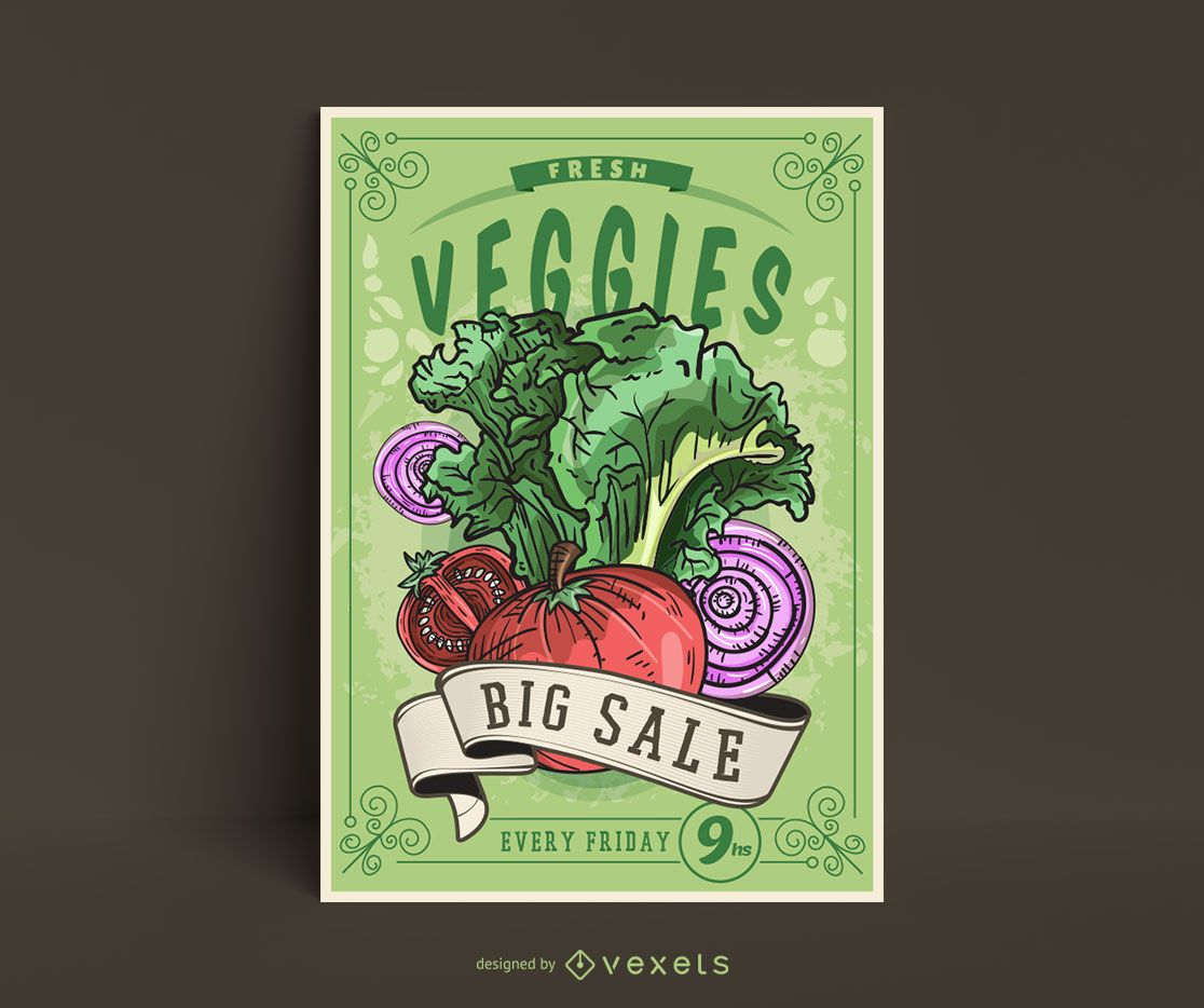 Plantilla de cartel de verduras vintage