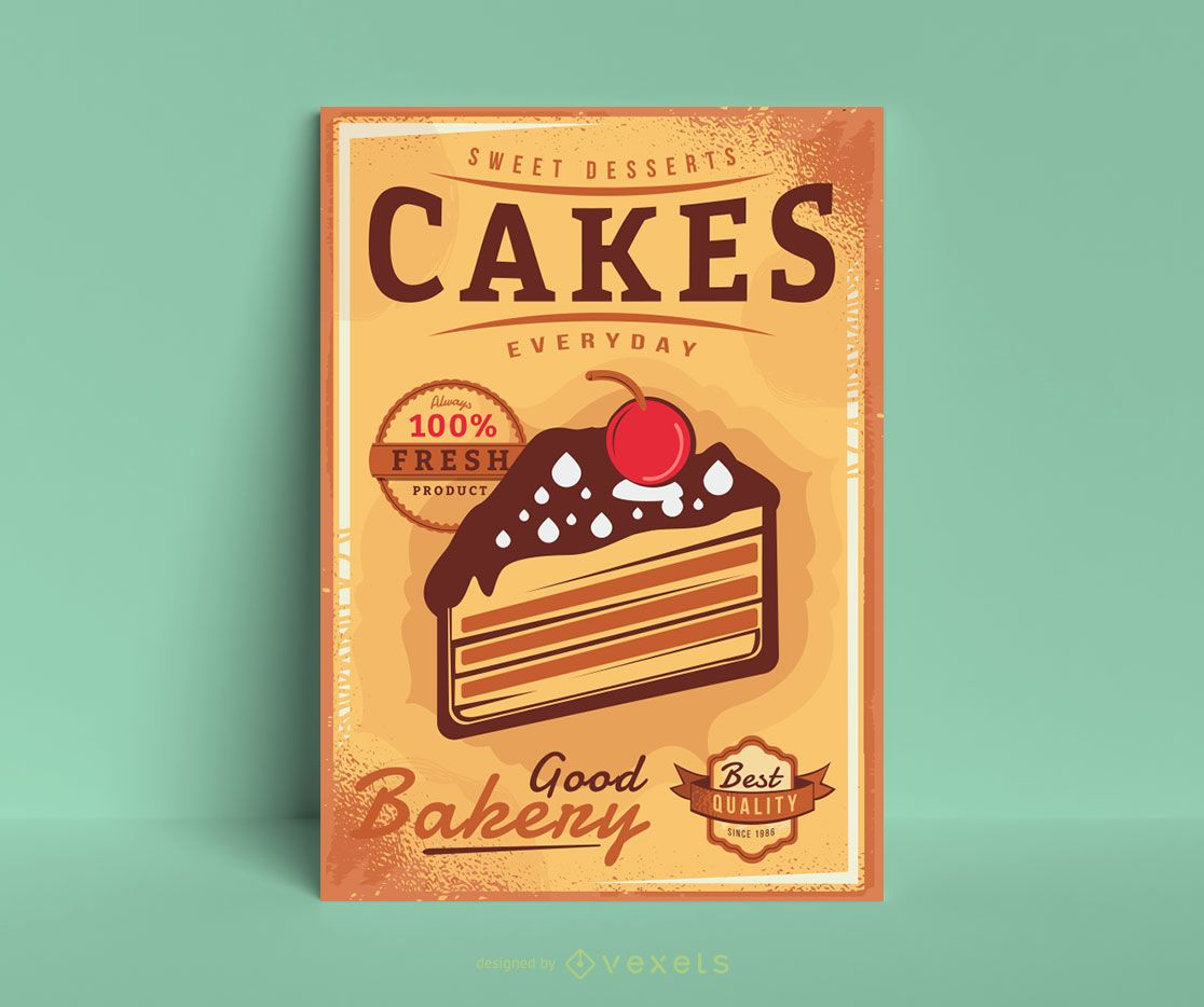 Vintage cakes poster template